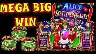 """ALICE & THE SCATTERED HEARTS"" slot machine ""MEGA WIN"""