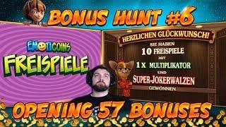 BONUS HUNT #6 - OPENING 57 SLOT BONUSES LIVE ON STREAM! - BIG WINS?