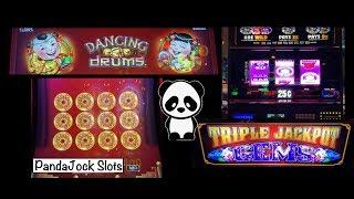 Max betting in Vegas on Dancing Drums and Triple Jackpot Gems slot