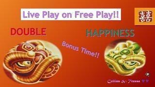 •LIVE PLAY on FREE PLAY• Double Happiness + Slot Machine Bonus