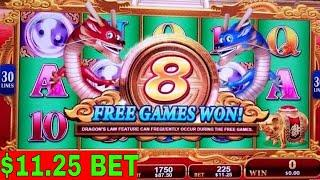 $11.25 Bet Dragons Law Twin Fever Slot Machine Bonus Won | Very Nice Session | Live Slot Play w/NG
