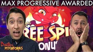 MAX Progressive WON on our FIRST time playing Devil's & Pitchforks Slot!