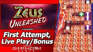 Zeus Unleashed Slot - First Attempt, Live Play, Re-Spins and Bonus