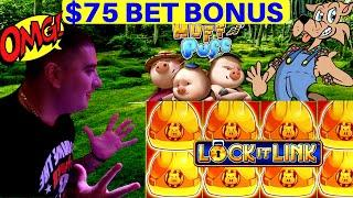 $50 & $75 Bet Bonuses On High Limit HUFF N PUFF Slot Machine ! $5,000 In High Limit Room | LAS VEGAS