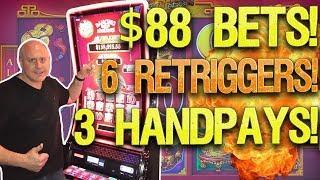 $88 BETS •High Limit Dancing Drums! •6 RETRIGGERS! •️3 JACKPOTS! | The Big Jackpot