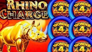 WOW!! RARE SUPER FREE GAMES BOOST TO EXTREME! RHINO CHARGE! WONDER 4 BOOST Slot Machine (Aristocrat)