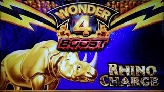 TOO MANY FREE GAMES on RHINO CHARGE WONDER 4 BOOST SLOT POKIE BONUSES