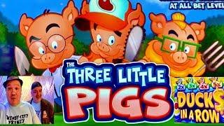 THE THREE LITTLE PIGS • DUCKS IN A ROW SLOT! MAX BET!•CASINO GAMBLING!