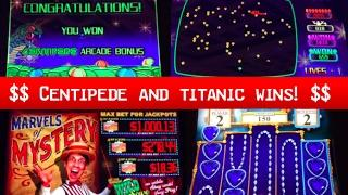 CENTIPEDE live play ~ TITANIC Bonuses ~ Marvels of Mystery slot machine and more!
