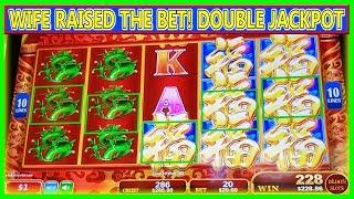 WIFE RAISED THE BET AND STARTED WINNING! DOUBLE JACKPOTS HIGH LIMIT SLOTS