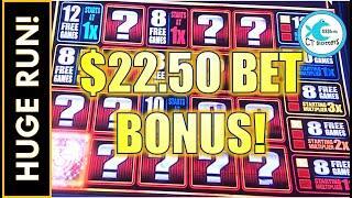 I KEPT WINNING, RAISED MY BET AND GOT THE BONUS ON $22.50 BET! RISING X QUICK HIT SLOT MACHINE