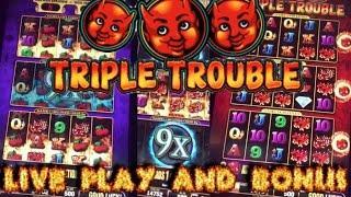 HUGE WIN!!! LIVE PLAY and Bonus on Triple Trouble Slot Machine
