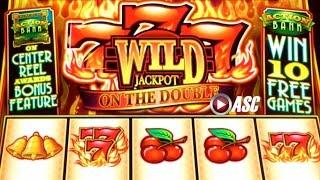 777 WILD JACKPOT ON THE DOUBLE & SUPER BELL RINGER •DOUBLE FEATURE• Slot Machine Bonus (BALLY)