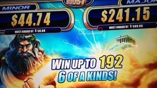 Zeus III 2c slot Line Hits, Minor and 2 Bonuses - WMS