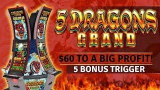$60.00 IN - HOW MUCH DID I WIN?  5 DRAGONS GRAND SLOT MACHINE POKIE BONUSES