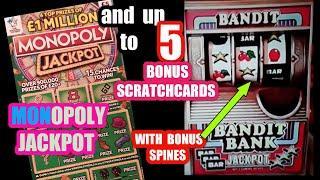 "MONOPOLY £1 MILLION Jackpot Scratchcard & 5 BONUS Card on our..""One Card Wonder Game"