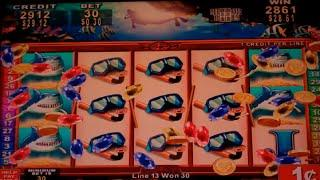 Diving for Riches Slot Machine Bonus + 3 NICE Line Hits - Mirror Reels - 15 Free Games, Nice Win