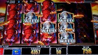Ultra Stack Bison II Slot Machine Bonus - 8 Free Games with Stacked Premium Symbols - Nice Win