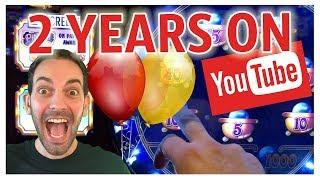 •2 Year HIGH LIMIT Celebration on YOUTUBE!! • • Slot Machine Pokies w Brian Christopher