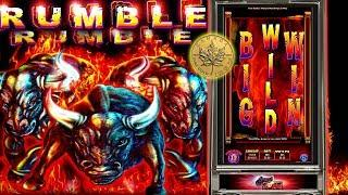 Rumble Rumble - Full screen of wilds •- live play w/ bonus - Slot Machine Bonus
