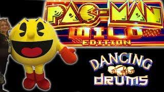 FIRST SPIN BIG LINE HIT Dancing Drums ••• Pac-Man Wild Edition BONUS • The Slot Cats •