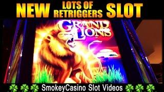 New Grand Lions Ainsworth Slot Machine Bonus - w/Retriggers