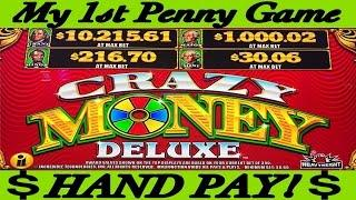 **My 1st Penny Game HAND PAY!** CRAZY MONEY DELUXE SKY WHEEL
