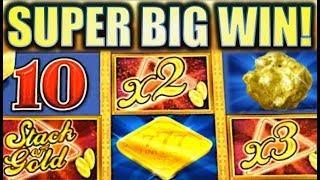 •SUPER BIG WIN! • STACK OF GOLD Slot Machine Bonus (Aristocrat)