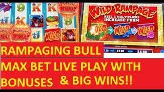 RAMPAGING BULL SLOT LIVE PLAY WITH BONUSES!!! POKIES!!!