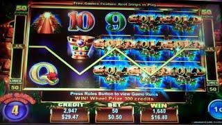 Gold City Wheel Winner Slot Machine Bonus + Retriggers - 25 Free Games Win with Wheel Spins