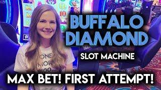 First Try on New Buffalo Diamond Slot Machine! Can I Get The Bonus?