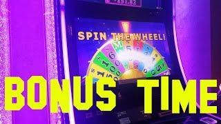 Wheel of Fortune 3D Live play $1.00 denom with 2 BONUS ROUNDS WHEEL SPIN Slot Machine