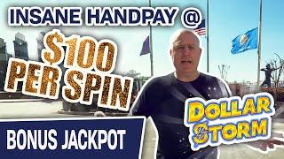 ⋆ Slots ⋆ Insane Handpay Jackpot @ $100 PER SPIN ⋆ Slots ⋆ Watch Me CRUSH Dollar Storm at Choctaw Casino!