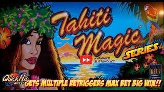 Aristocrat - TAHITI MAGIC Slot Bonus RETRIGGERS!! BIG WIN!