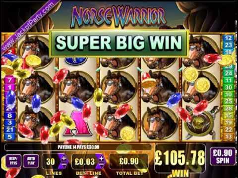 £189 SUPER BIG WIN (210 X STAKE) NORSE WARRIOR™ BIG WIN SLOTS AT JACKPOT PARTY