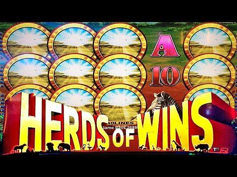 HERDS OF WINS SLOT MACHINE BONUS NICE WIN w/ RETRIGGER Konami Slots