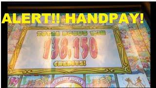 ALERT!! - HANDPAY - Stinkin Rich Bacon Wrapped Titties JACKPOT!! Glare is very bad in this Vid