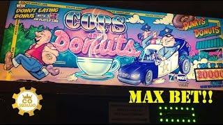Cops and Donuts Slot Machine*MAX BET*WITH BONUSES*$4.00 A Spin*LAUGHLIN*